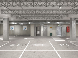 Wall Mural - Empty underground parking, stairs, elevators, 13th place, 3d illustration