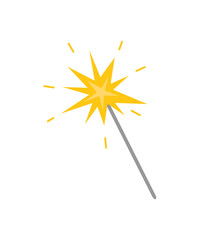 Magicion stick with star, flat icon isolated. Vector cartoon clipart, golden star on top of wand. Flat style design of wizard magical and mystery stuff