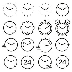 Time and clock line isolated icons. Vector linear icon set.