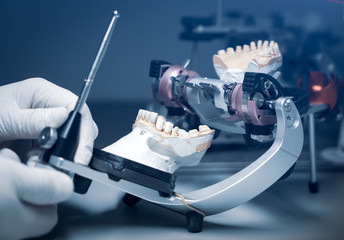 orthodontic prosthesis. laboratory. close-up. dental