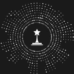 White Movie trophy icon isolated on grey background. Academy award icon. Films and cinema symbol. Abstract circle random dots. Vector Illustration
