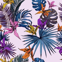 Seamless pattern with colorful orchid flowers and tropical leaves on pink background. Hand drawn vector illustration.