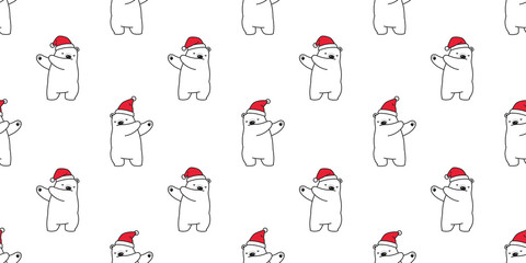 bear seamless pattern Christmas vector dab dance Santa Claus hat scarf isolated cartoon repeat wallpaper tile background illustration doodle design