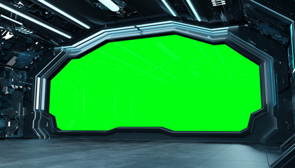 Fototapete - Dark blue spaceship futuristic interior mockup with window 3d rendering