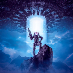 Daughter of the new dawn / 3D illustration of science fiction scene showing female military astronaut on mountain top with giant alien space ship