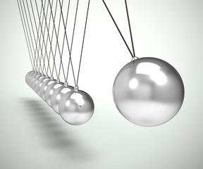 Newtons cradle pendulum with sphere or ball shows impact and effect - 3d illustration