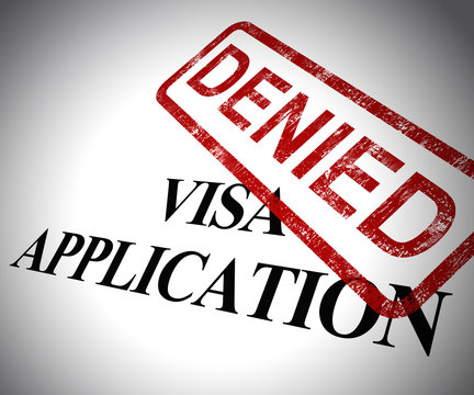 Visa application denied means passport stamp refused - 3d illustration