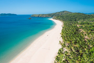 Aerial view of Nacpan beach on Palawan, Philippines
