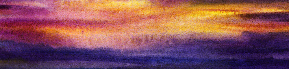 Bright abstract watercolor background. Colorful horizontal gradient spots of blue, yellow pink, purple. Calm water. Ombre. Hand-drawn illustration on texture paper. cloudiness