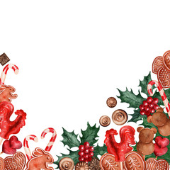 Watercolor background picture Christmas holiday sweets