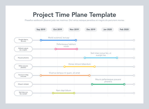 Business project time plan template with project tasks in time intervals. Easy to use for your website or presentation.