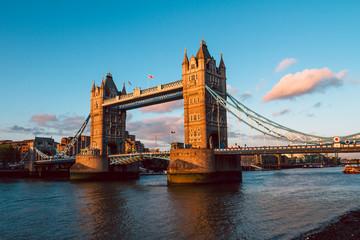 Tower Bridge in London illuminated by the setting sun