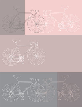 Hand drawn bicycle invitation/thank you/event vector 8,5 x 11 in bicycle card template in white, pink and gray colors palette
