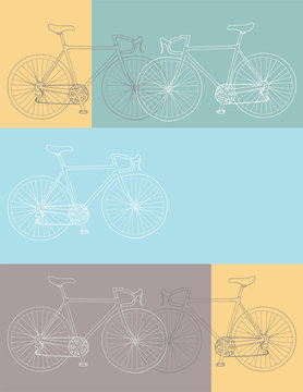 Hand drawn bicycle invitation/thank you/event vector 8,5 x 11 in bicycle card template in yellow, blue and gray colors palette