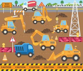 Printed kitchen splashbacks Cartoon cars Cute Construction Transportation Theme Set
