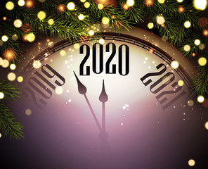 2020 new year background with clock, fir branches and lights.