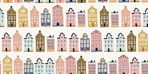 Seamless pattern, hand drawn scandinavian houses