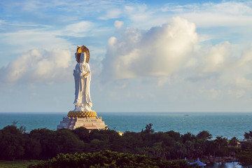 Statue of goddess Guanyin on the territory of Buddhist center Nanshan, Sanya, Hainan island, China