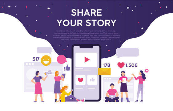 share your story concept from smartphone