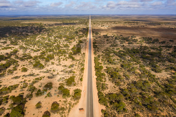 Aerial view of the start of the 90 mile straight road, which is Australia's longest straight road and is located on the Nullarbor Plain