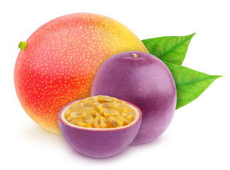 Composite image with with whole and halved exotic fruits - passionfruit and mango isolated on white background. As design element.