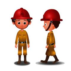 Fire Fighter - Cartoon Vector Image