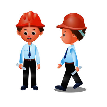Engineer wearing Safety Helmet - Cartoon Vector Image