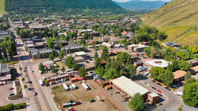 Jackson Hole, Wyoming. Panoramic aerial view of town and landscape on a beautiful summer morning.