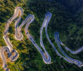 Aerial view of Maloja Pass road in Switzerland