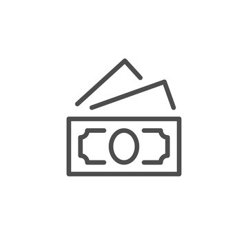 Paper dollar banknote line icon
