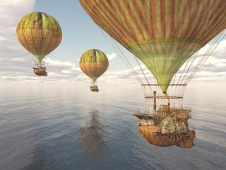 Fantasie Luftschiffe über dem Meer
