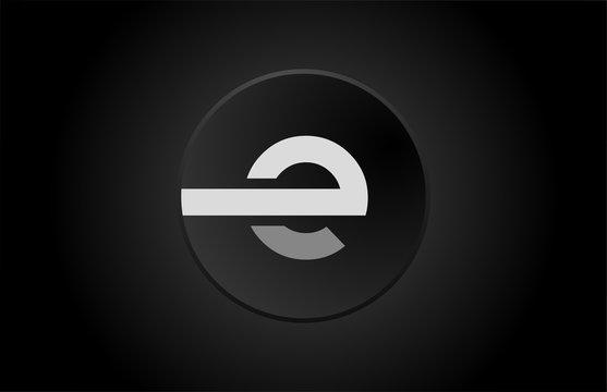 black and white alphabet letter e circle logo icon design