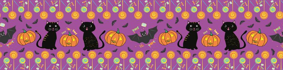 Fun hand drawn multicolor Halloween border with cats, bats, pumpkins and lollipops. Seamless vector pattern on purple background. Great for banners, party products, invitations, edging, stationery