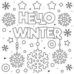 Hello winter. Coloring page. Black and white vector illustration