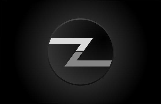 black and white alphabet letter z circle logo icon design