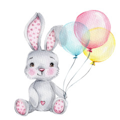 Cute cartoon little bunny with pink, blue and yellow balloons  watercolor hand draw illustration  with white isolated background