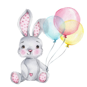 Cute cartoon little bunny with pink, blue and yellow balloons; watercolor hand draw illustration; with white isolated background