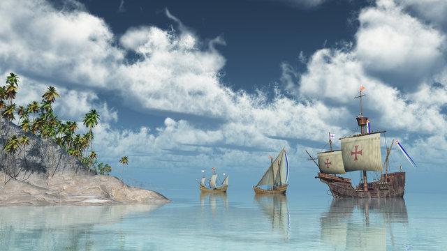 Santa Maria, Nina und Pinta von Christoph Columbus vor einer Insel