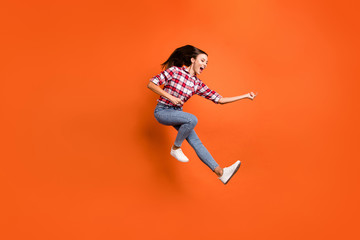 Full length body size photo of carefree careless glad active girl jumping up imaging she playing musical instrument isolated bright color background