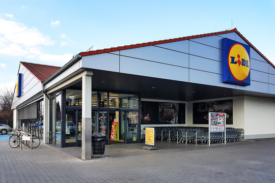 Nowy Sacz, Poland - March 20, 2019: Exterior view of the Lidl Store. Lidl is a large German global discount supermarket chain based in Neckarsulm.