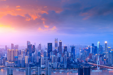 Aluminium Prints Blue sky Architectural scenery and city skyline in Chongqing