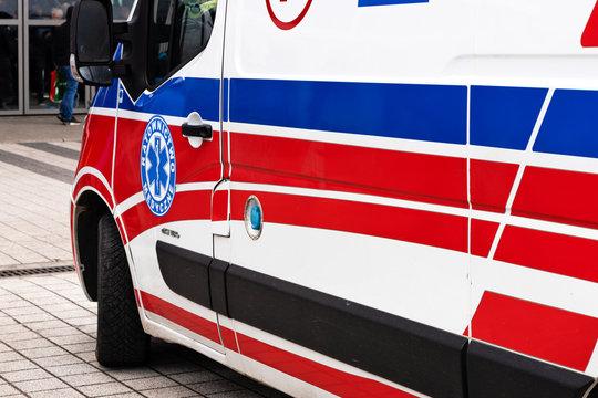 Kielce, Poland, March 16, 2019:  Polish ambulance medical service vehicle on the street of Kielce during public event.