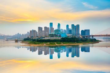 Printed kitchen splashbacks Beige Architectural scenery and city skyline in Chongqing