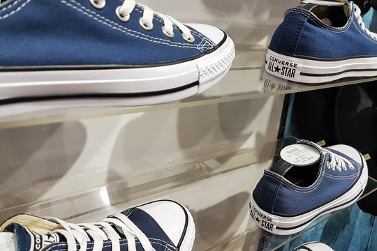 Nowy Sacz, Poland - June 01, 2019: Converse All Star shoes for sale in the mall. Converse is an American shoe company which sells sportswear and lifestyle brand footwear all over the world.