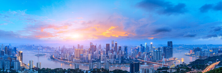 Foto op Canvas Blauw Sunset cityscape skyline panorama in Chongqing
