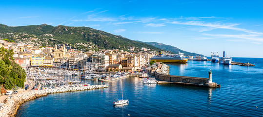 Canvas Prints Ship old town and harbor of bastia on corsica