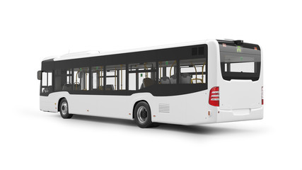 City Bus 3D Rendering Isolated on White Background