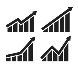 Vector growing graph icon set 4 n 1