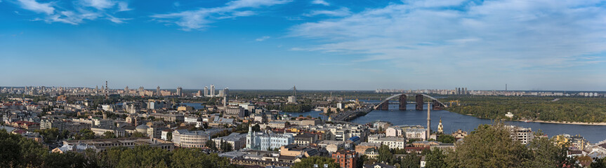 panorama view over kiev the dnieper river and the podilsko voskresensky bridge ukraine