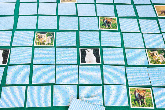 MOSCOW, RUSSIA - APRIL 2, 2019: face down cards of Concentration (Memory) board game with animal theme on green baize table. The object of the game is to find pairs of matching cards